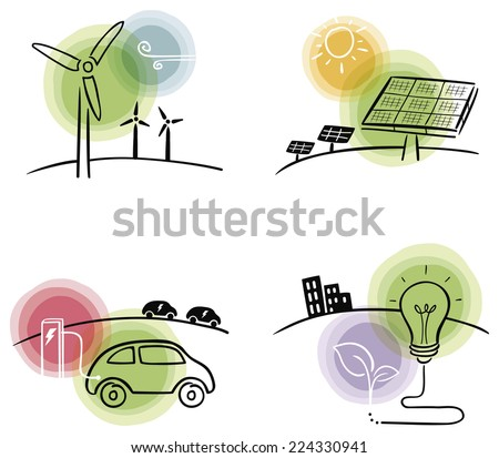 Green energy concepts, wind power, solar power, electricity and bio energy - stock vector