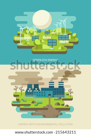 Green energy ecology concept flat icons set of green energy and environment pollution power factory nuclear plant and vector web illustration website click infographics elements - stock vector