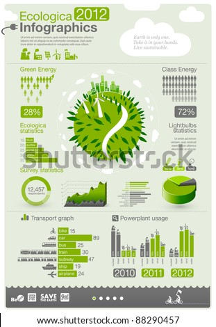 green energy/ ecology info graphics collection - ENERGY industry - charts, symbols, graphic elements