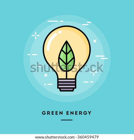 Green energy, flat design thin line banner, usage for e-mail newsletters, web banners, headers, blog posts, print and more - stock vector