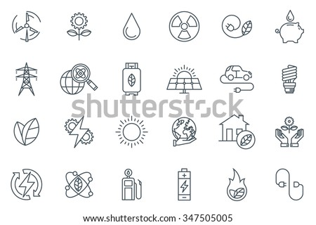 Green energy icon set suitable for info graphics, websites and print media. Black and white flat line icons. - stock vector