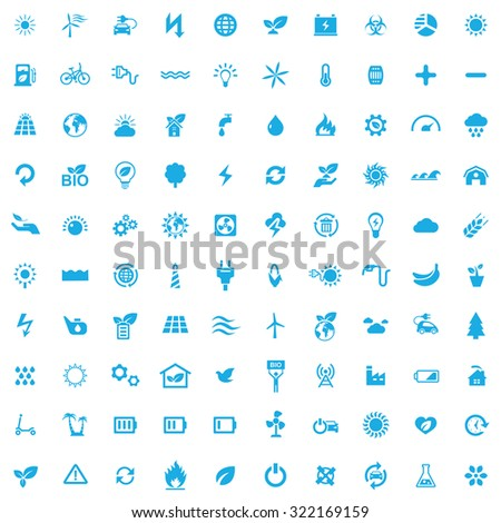 green energy 100 icons universal set for web and mobile  - stock vector
