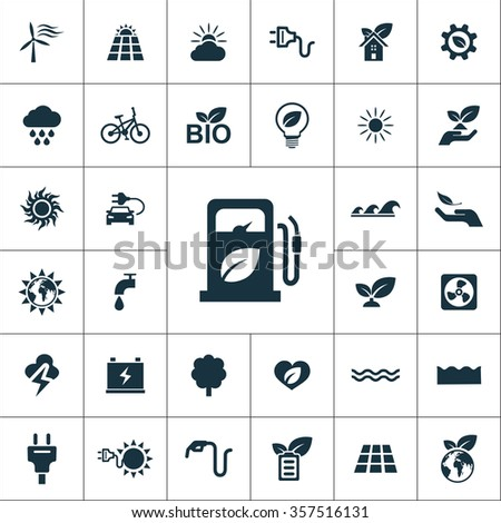 green energy Icons Vector set. green energy Icons Symbol set. green energy Icons Picture set. green energy Icon Image set. green energy Icons Shape set. green energy Icons Sign set  - stock vector