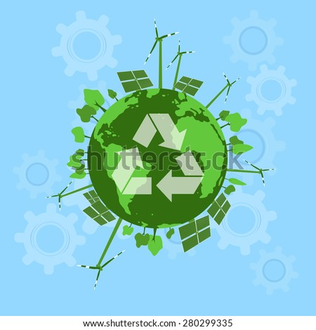 Green Energy - Solar and Wind energy / Ecology - stock vector