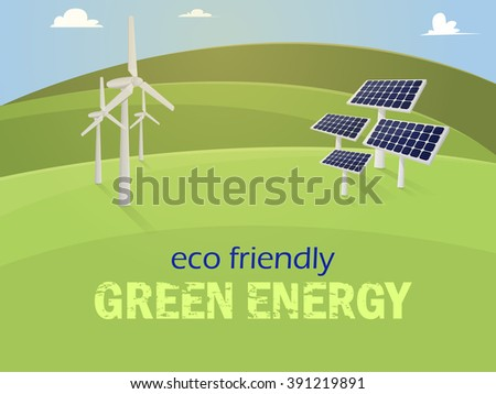 Green energy. Solar panels and wind generators on mountains - stock vector