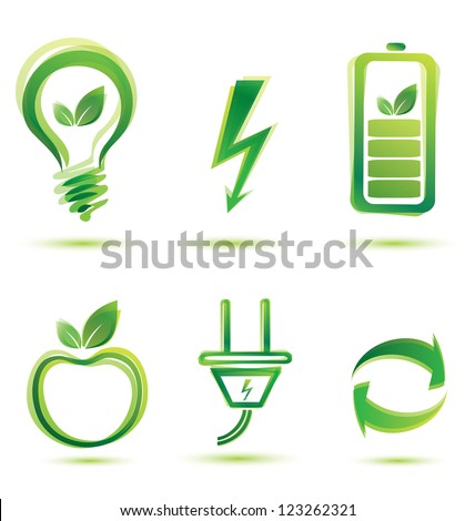 green energy vector icons, eco concept