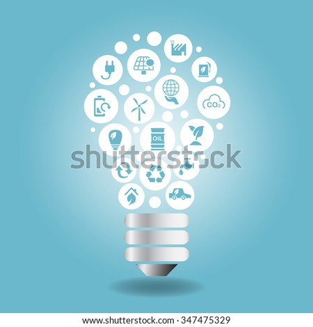 Green environment ECO and recycle concept Concept - icon with light bulb with blue background - stock vector