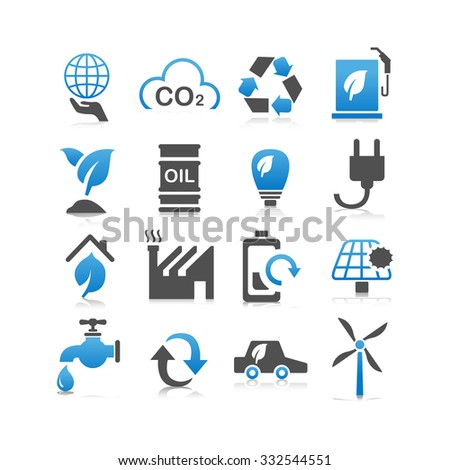 Green environment ECO and recycle concept icon set - Flat Series - stock vector