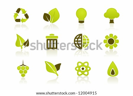 Green Environment Icon Set - a set of 12 environmental icons