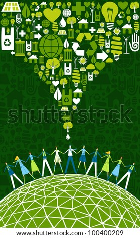 Green environment icons set splash over happy eco people globe.  Vector file available. - stock vector