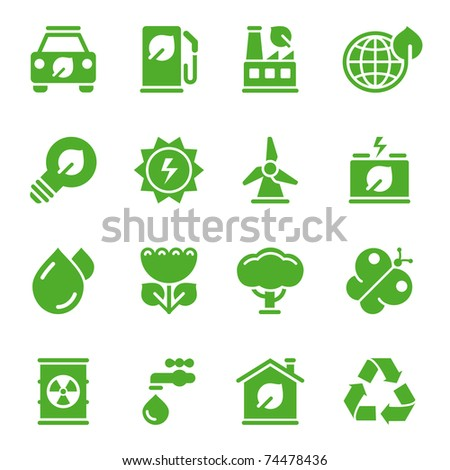 Green environmental icons - stock vector