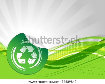 Green Environmental Recycling wave background - Vector