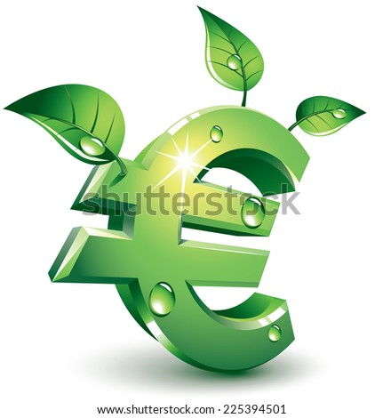 Green euro sign with green leaves. Eps8. CMYK. Organized by layers. Global colors. Gradients used. - stock vector