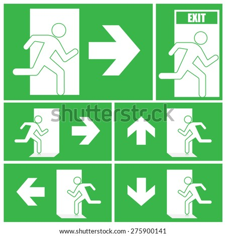 Green exit sign - stock vector