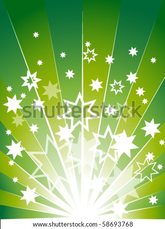 Green explosion background with many stars - stock vector