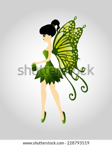 Green Fairy Flying With Seeds - stock vector