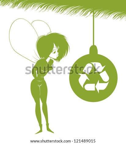 Green Fairy is looking at Christmas toy with the sign of eco. - stock vector