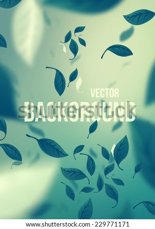 Green Falling Leaves. Vector Background - stock vector