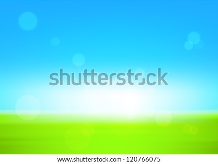 Green field and blue sky - stock vector