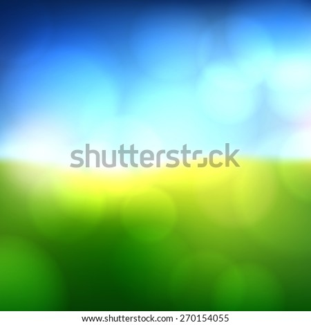 Green field with blue sky blurry background. Vector illustration.  - stock vector