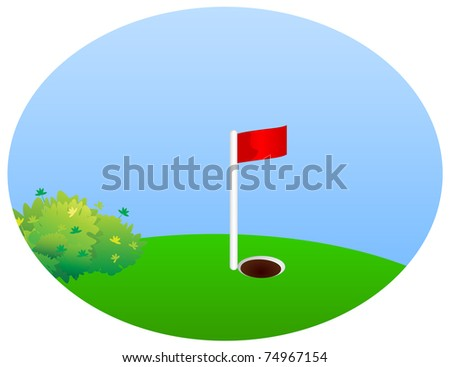 Green field with bushes to play golf with holes and a red flag - stock vector