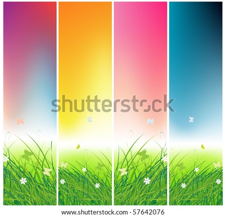 Green field with butterflies, times of day - stock vector