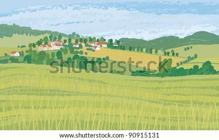 Green fields - stock vector