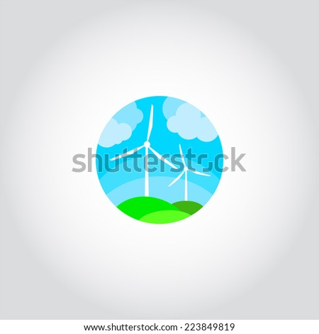 Green fields with wind turbines generating electricity, ecological power - stock vector