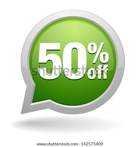Green fifty percent off speech bubble - stock vector