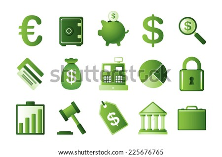 Green finance icons set, with euro symbol, dollar symbol, Vector illustration cartoon.  - stock vector