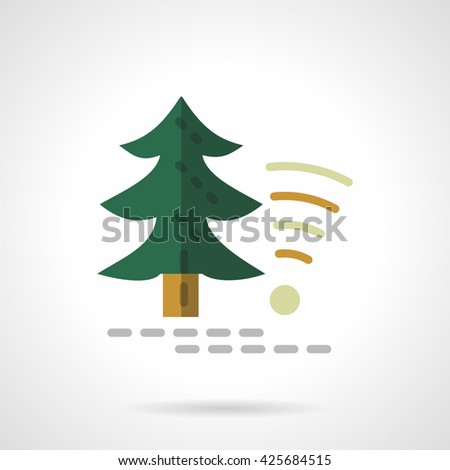 Green fir tree and object wireless sign. Technology in forest, camping services. Flat style color vector icon - stock vector