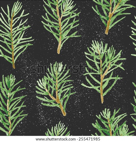 Green fir tree branches and leaves seamless pattern on black grungy background. Vectorized watercolor drawing. - stock vector