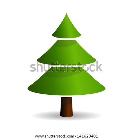 Green Fir tree - icon isolated on white background. Vector. - stock vector