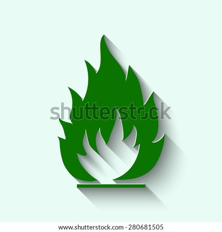 Green Fire flames icon, vector illustration - stock vector