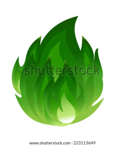 Green fire icon - stock vector