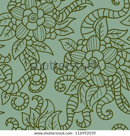 Green floral seamless pattern in retro style. 10 eps vector illustration
