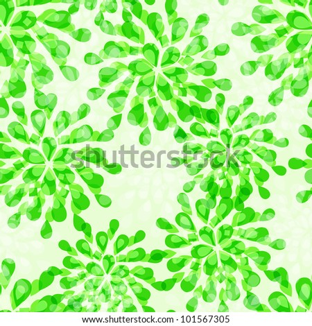 Green Floral Seamless Pattern with Abstract Emerald Flowers. Vector Illustration Background - stock vector
