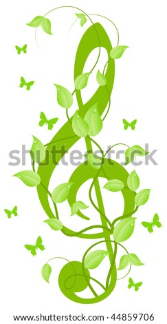 Green floral treble clef with small butterflies. Isolated on a white. Vector illustration - stock vector