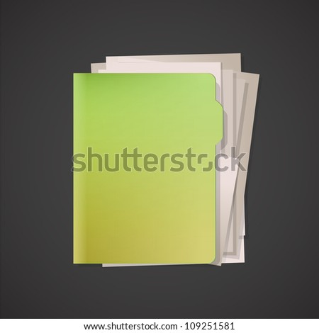 Green folder with white paper. Vector design. - stock vector