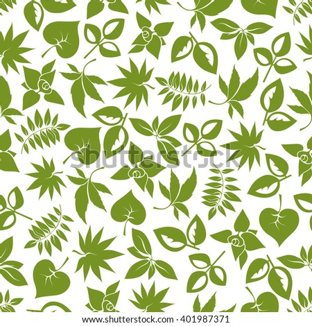Green foliage seamless pattern of delicate leaves with stems of trees, bushes and herbs. For retro stylized wallpaper, nature background or scrapbook page themes design - stock vector