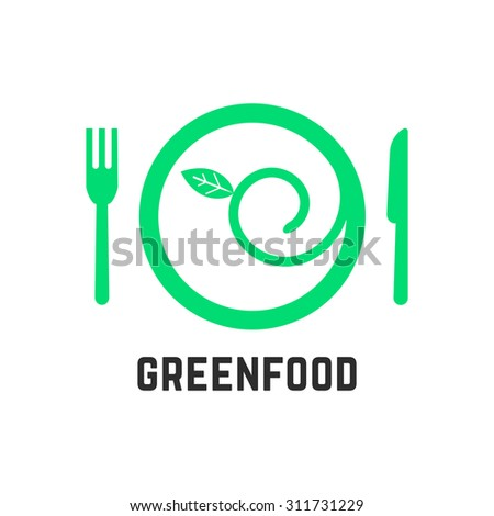 green food logo with tablewares. concept of ecology, gastronomy, vegan cuisine, salad, healthcare, vegetarianism. isolated on white background. flat style trend modern brand design vector illustration - stock vector