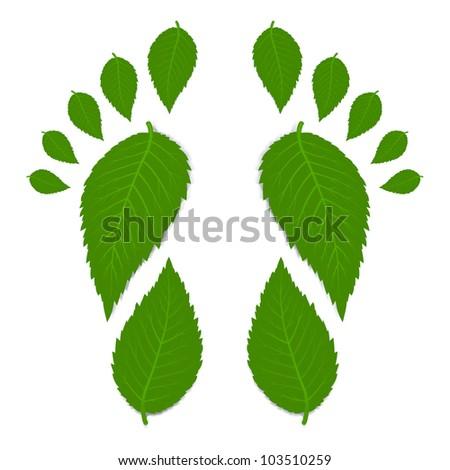 Green footprint - stock vector