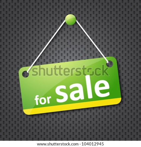 green for sale sign - stock vector