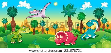 Green forest with dinosaurs. Vector cartoon illustration.  - stock vector