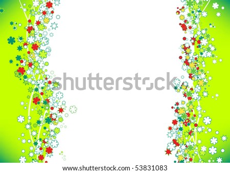 green frame background with flowers - stock vector
