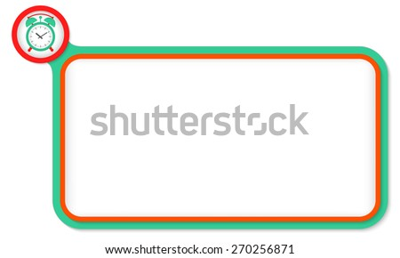 Green frame for your text and alarm clock - stock vector