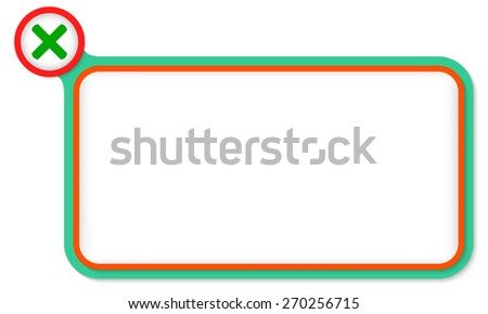 Green frame for your text and multiplication symbol - stock vector