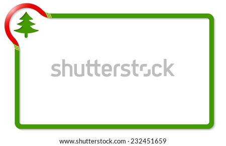 green frame with red corner and xmas tree - stock vector