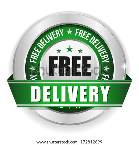 Green free delivery badge with ribbon