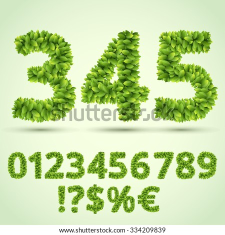 Green Fresh Leaves Ecology Font, Number and Symbols part. Vector character set  - stock vector